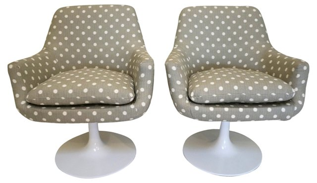 Midcentury Pedestal  Swivel Chairs, Pair