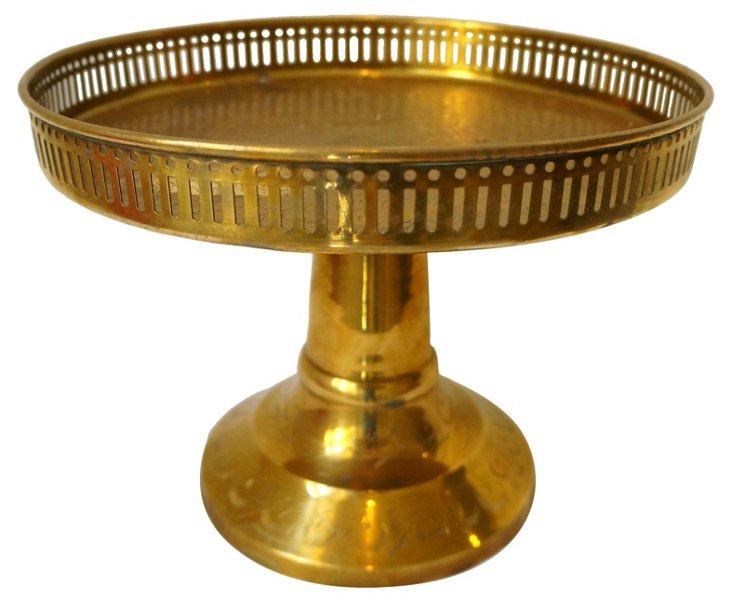 Tall Brass Pedestal Tray