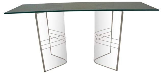 Glass-Top Lucite Console