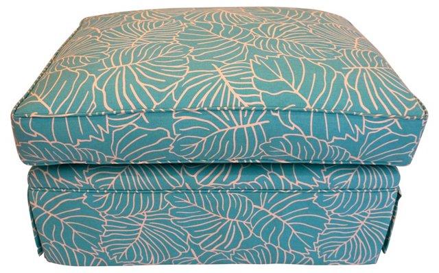 Skirted Ottoman w/ Turquoise Leaf Print