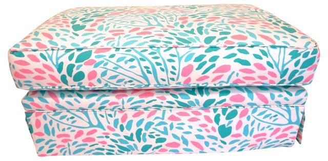Skirted Bench in Turquoise & Pink