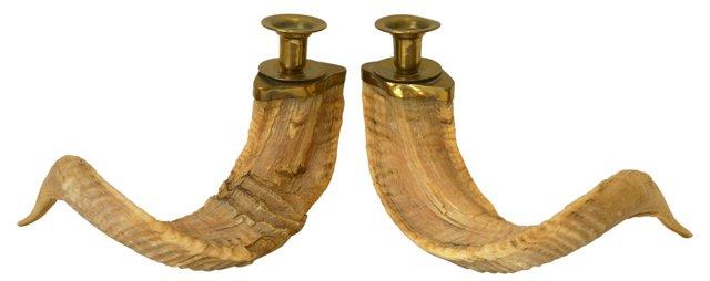 Ram Horn Candleholders, Pair
