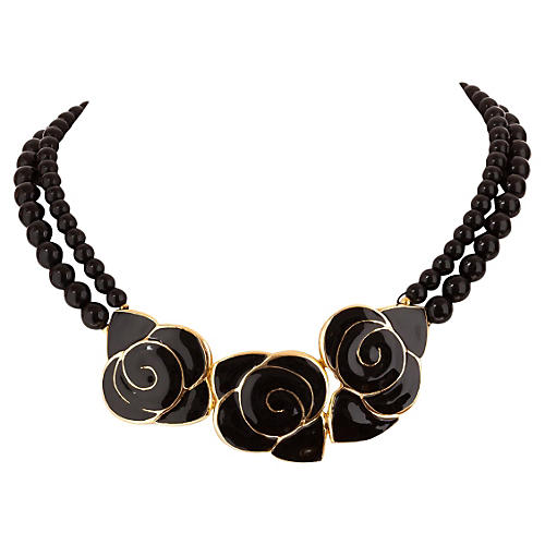 Balenciaga Black Enamel Flower Necklace
