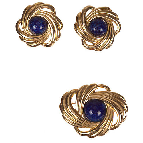 Lanvin Retro Earrings & Pin Set