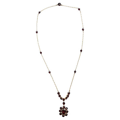 Bohemian Red Garnet Necklace