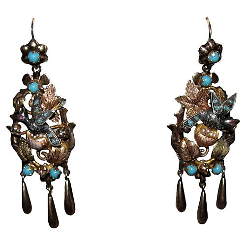 French Mid-Victorian Bird Earrings