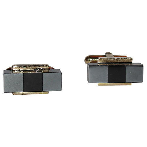 Christian Dior Hematite Glass Cufflinks