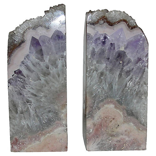 1980s Amethyst Drusy Bookends, S/2