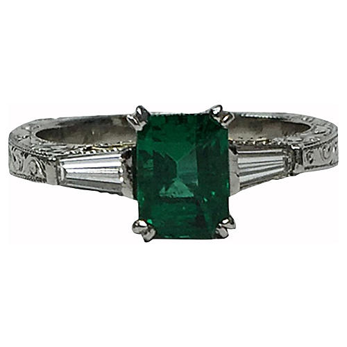 18K, Platinum, Emerald & Diamond Ring