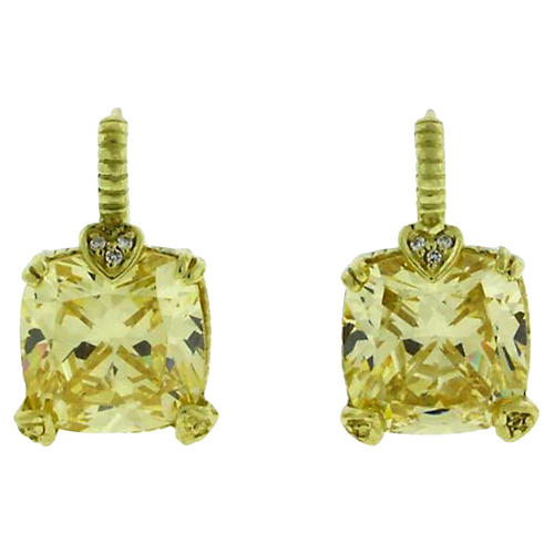 Judith Ripka Canary Quartz Earrings