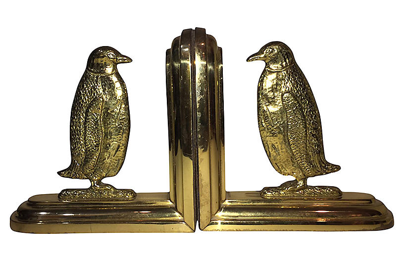 Brass Penguin Bookends