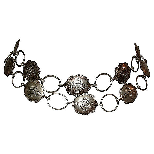 Navajo-Style Sterling Concho Necklace