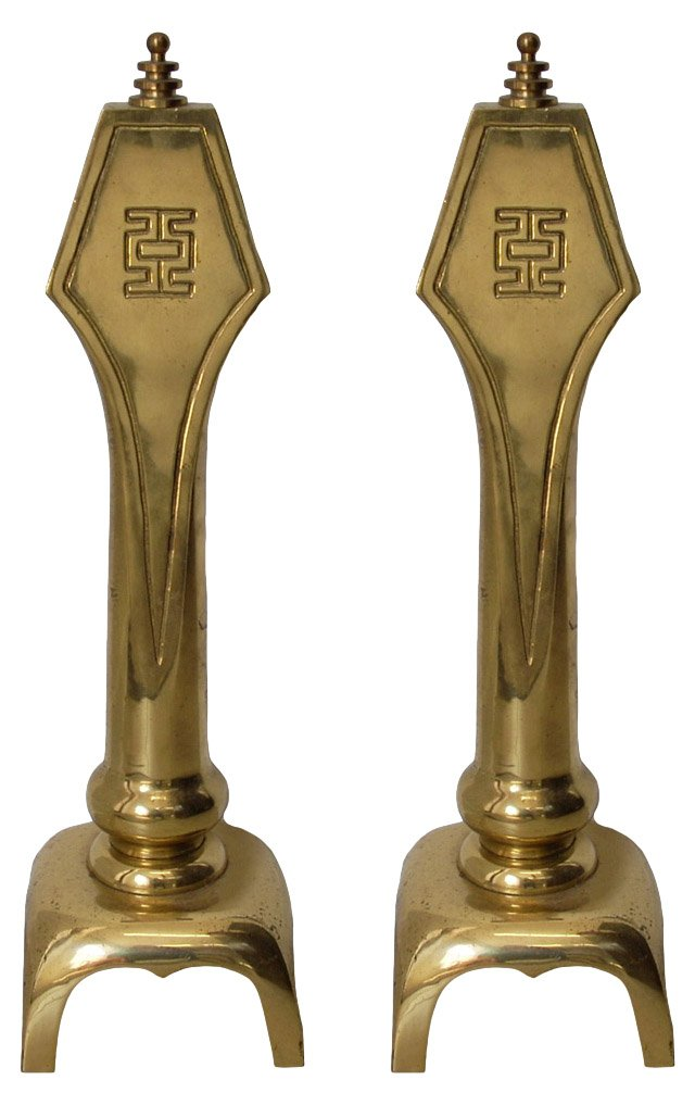 Asian-Style  Brass  Andirons