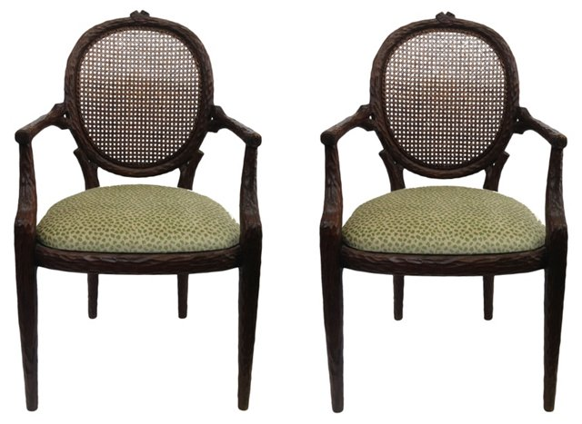 French Faux-Bois Cane Chairs, Pair