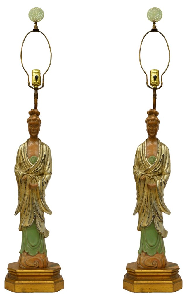 Asian Figural Lamps, Pair
