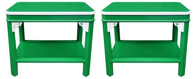 Chippendale-Style End Tables, Pair