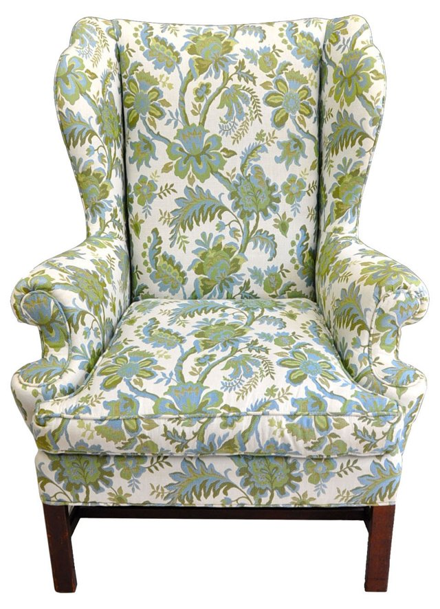 Floral-Print Wingback