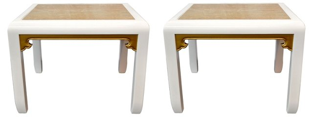 Asian-Style Marble-Top Tables, Pair