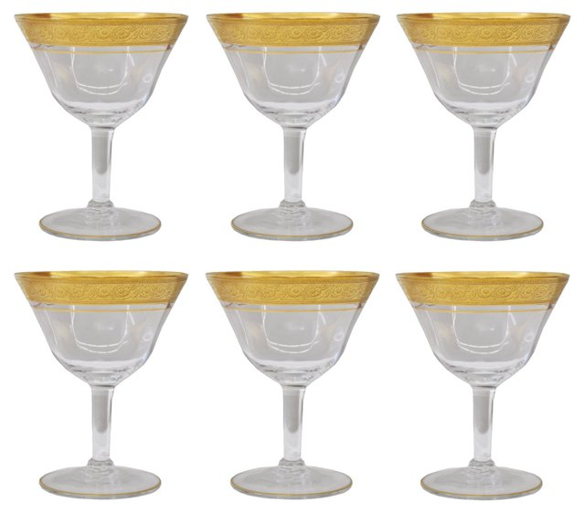 Gilt-Rimmed Champagne Glasses, S/6