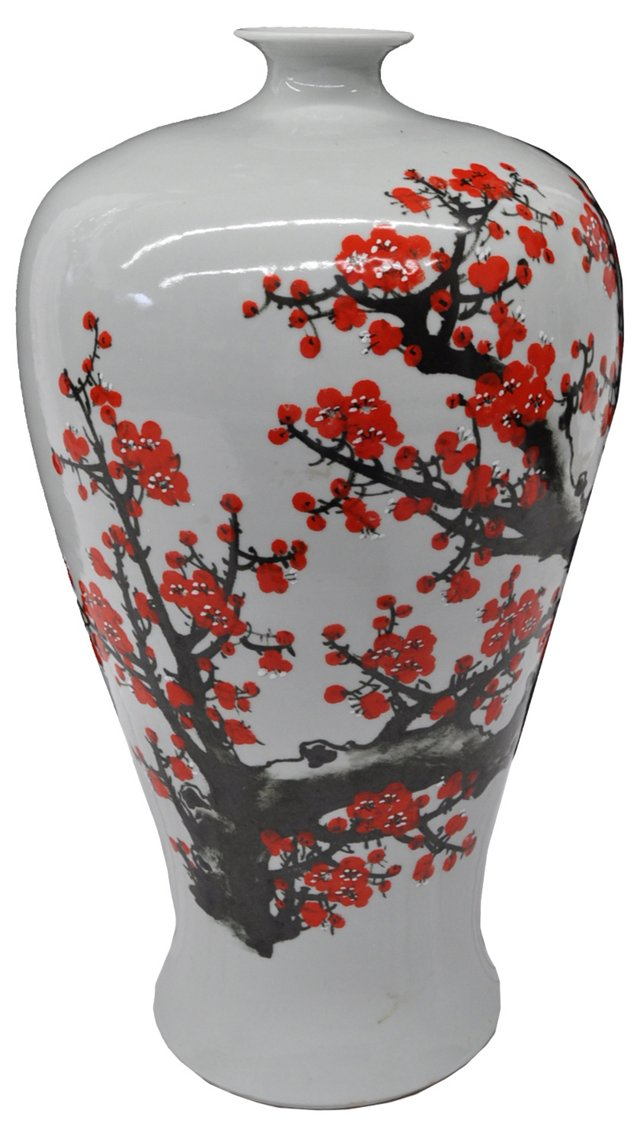 Chinese Cherry Blossom Painted Vase