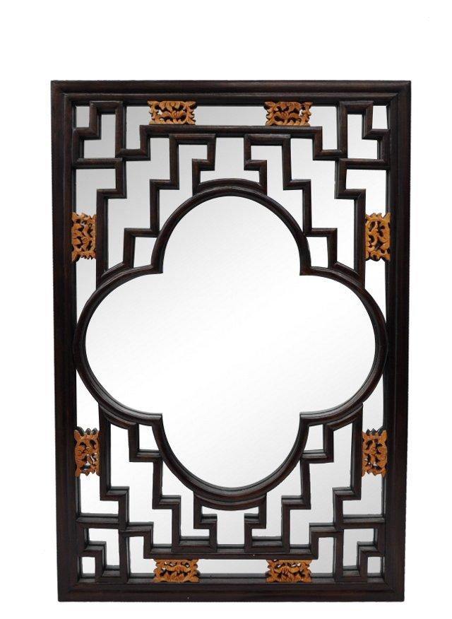 Quatrefoil Carved Asian Mirror