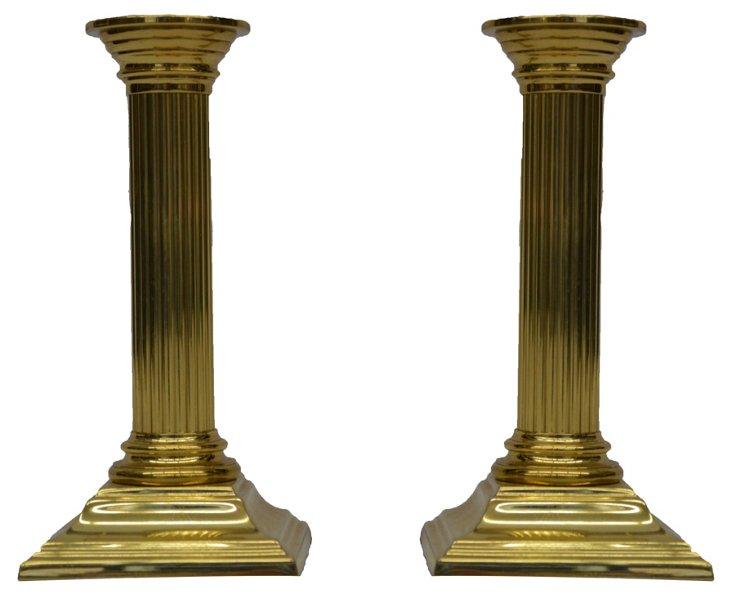 Baldwin Brass Candleholders, Pair