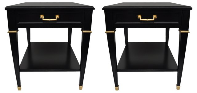 Lacquered End Tables by Heritage, Pair