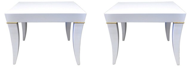 White Lacquered End Tables,  Pair