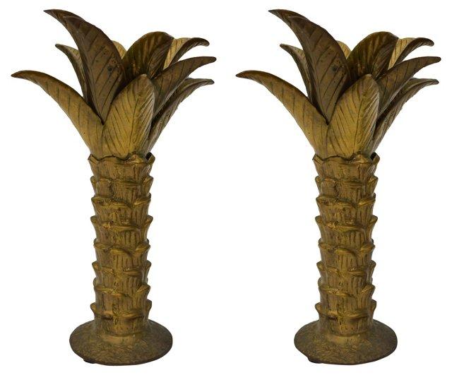 A Mottahedeh Brass Candlesticks, Pair