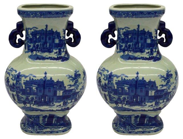 Chinese Transferware Vases, Pair