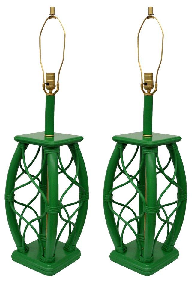 Green Rattan Lamps, Pair