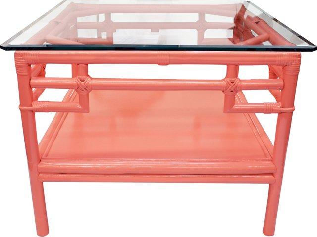 Glass-Top Rattan Table