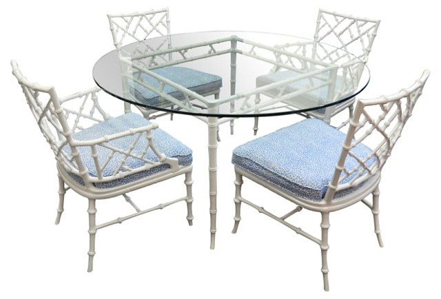 Iron Bamboo-Style Table & 4  Chairs