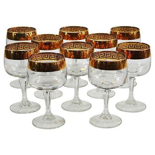 Gold Greek Key Cordial Glasses, S/10