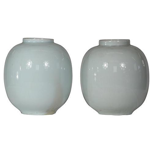 Pale Blue Porcelain Vases, S/2