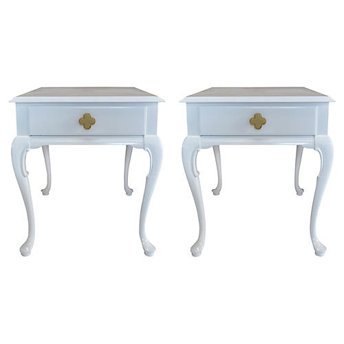 White Chippendale Side Tables, Pair
