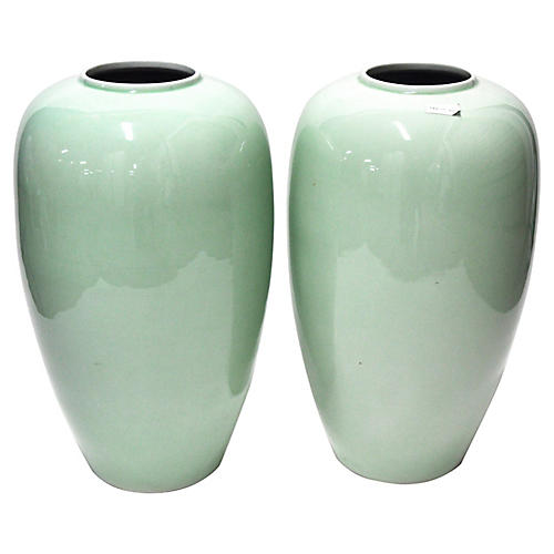 Green Vases, Pair