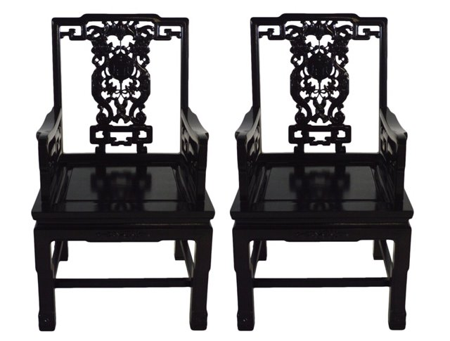 Asian Greek Key Armchairs, Pair