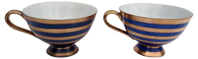 Blue & Gold Teacups, Pair