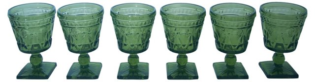 Green Pressed Glass Wine Goblets, S/6