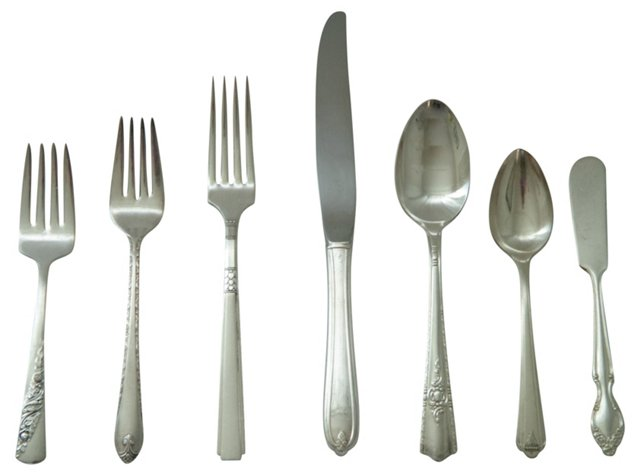 Mismatched Silver Place Setting, 7 Pcs