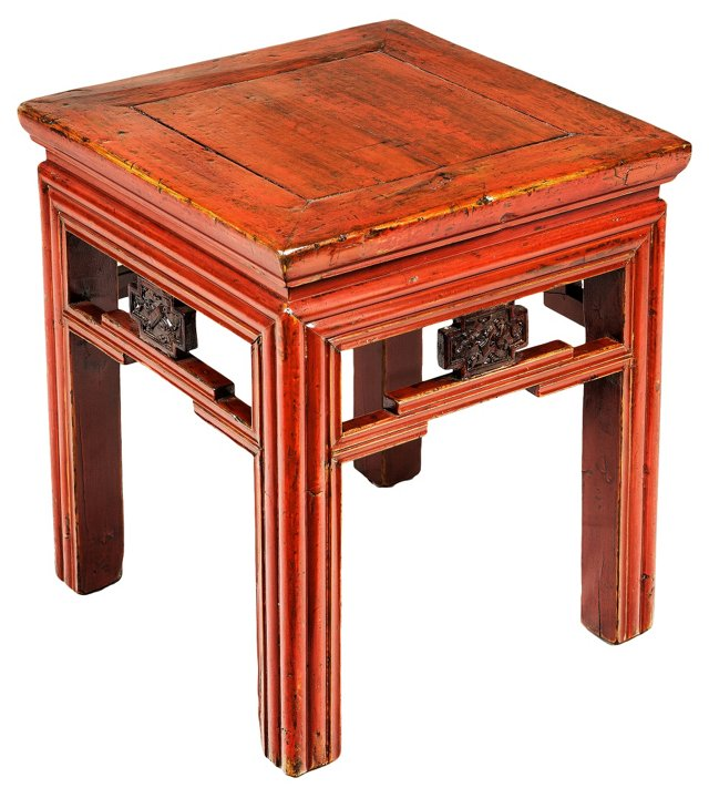Mid-19th-C. Red Lacquered Side Table