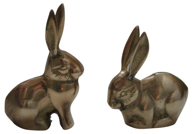 Midcentury Brass Rabbits, Pair