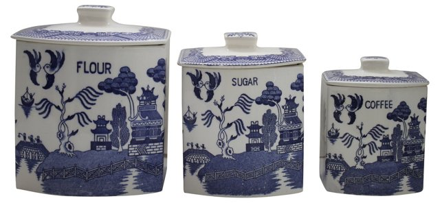 Blue Willow Canisters, S/3