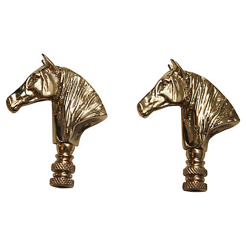 Horse Head Lamp Finials, Pair