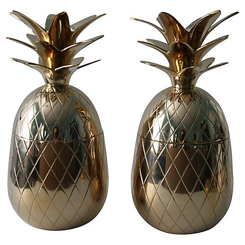 Brass Pineapple Boxes, S/2