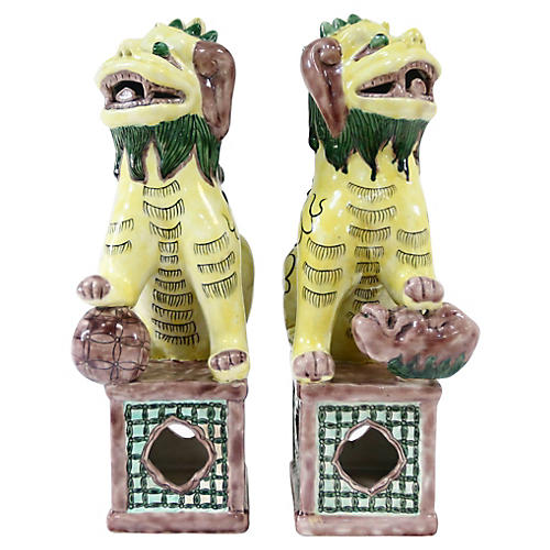 Sancai Glaze Foo Dogs, Pair