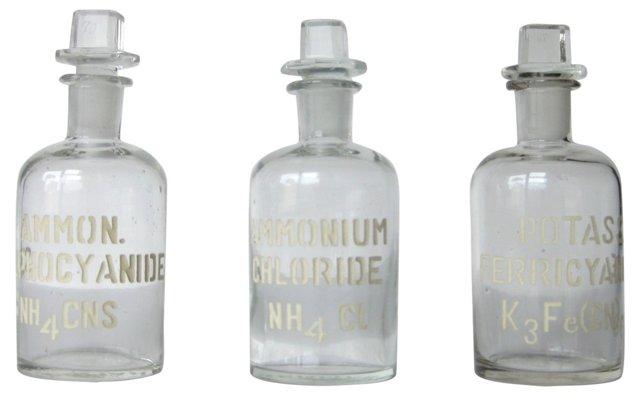 Antique Laboratory Bottles, S/3