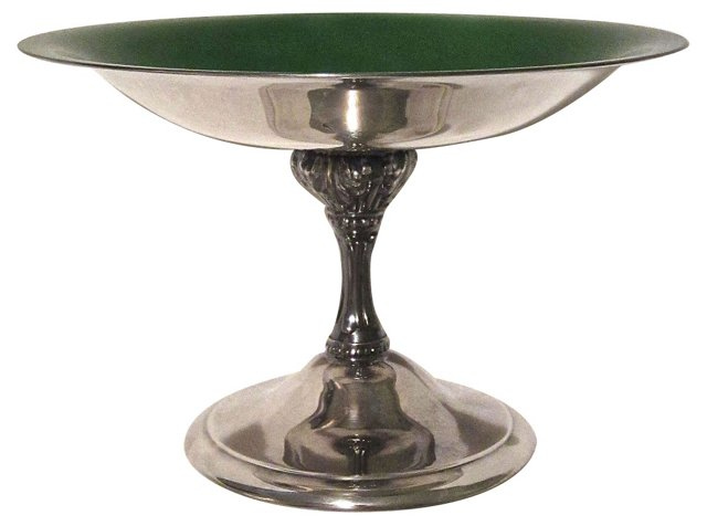 Enameled Silverplate Compote