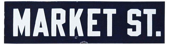 Porcelain Market Street Sign